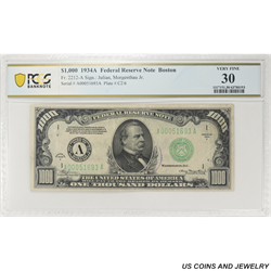 1934A $1000 Federal Reserve Note, Boston, PCGS  30 Very Fine - Partial Ink Stamp