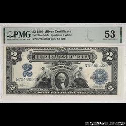 1899 $2 Mini Porthole Silver Certificate Note PMG AU 53 Fr. 258m Mule