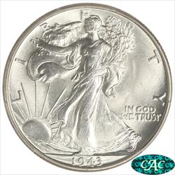 1943 Walking Liberty Half Dollar PCGS and CAC MS67 Frosty White