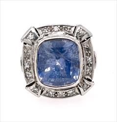 GIA Certified 7.67ct Modified Cushion Cut Natural UNHEATED Blue Sapphire & Diamond Ring in 18k White Gold