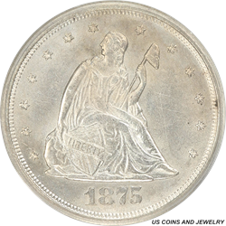 1875-S Liberty Seated Twenty Cent Piece, White, PCGS MS 60 Old Green Tag