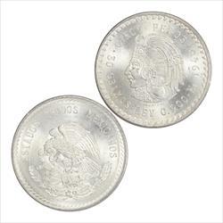 MEXICO 1947-1948 Cuaumtemoc 5 Pesos Silver XF-AU