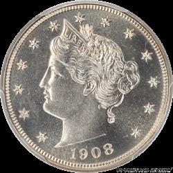 1908 Liberty V Nickel PCGS PR67