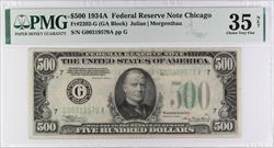 1934A $500 Federal Reserve Note, S/N G00319579A PMG CVF 35 NET, Fr. 2202-G