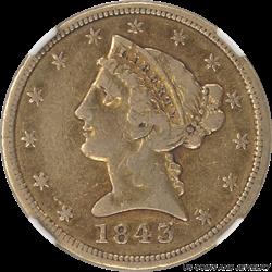 1843 D $5 Liberty $5 Gold Half Eagle NGC VF30 - Nice Original Surfaces
