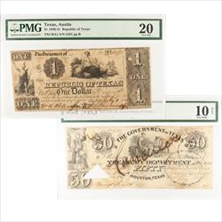 Texas Currency 1839-1841 Random Denomination Certified by PMG
