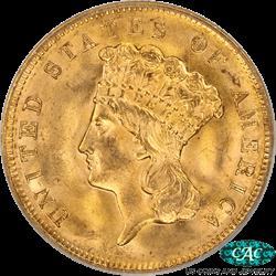 1878 Indian Princess Head  Three Dollar Gold Piece PCGS and CAC MS65 OGH GEM BU PQ+ Coin