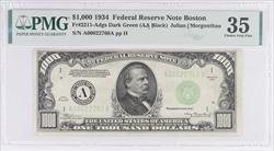 1934 $1000 Federal Reserve Note - Boston - Nice Original Note, PMG Choice VF 35