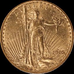 1916-S Saint St. Gaudens $20 Gold Double Eagle Old Holder ANACS AU 58
