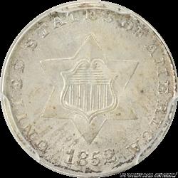 1852 Three Cent Silver  PCGS MS-63