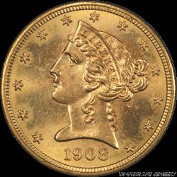 1908 Liberty Head $5 Gold Half Eagle PCGS MS65 Sharp Well Struck Coin