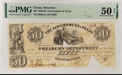 1838-39 $50 Government of Texas, SN 2962 PMG