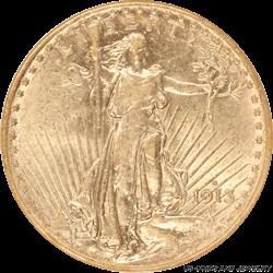1913-S Saint St. Gaudens $20 Gold Double Eagle Old Holder ANACS AU 55