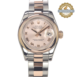 Rolex Ladies Datejust 179161 TT SS & 18K G Oyster Roman Dial Smooth Watch Only