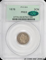1878 3 Cent Nickel PCGS CAC