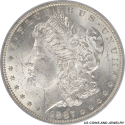 1887-O Morgan Silver Dollar PCGS MS64 Frosty White Brilliant Uncirculated