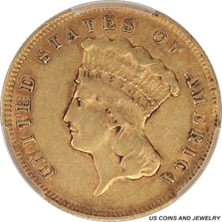 1878 Indian Princess $3 Gold PCGS XF40 Great Gold Type Set Coin