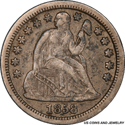 1858-S Seated Liberty Dime PCGS XF40 Early S Mint Dime