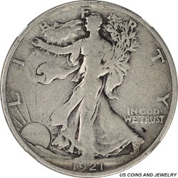1921-S Walking Liberty Half Dollar NGC F12 Low Mintage Key Date