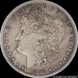 1893-S Morgan Silver Dollar PCGS VF30 Nice Attractive Patina