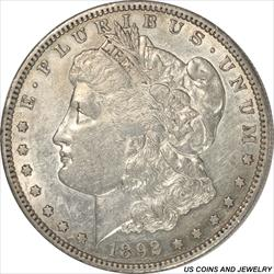 1892-S Morgan Silver Dollar  Choice AU++ Low Mintage Key Date
