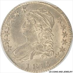 1814 Capped Bust Half Dollar PCGS MS63 Light Golden Toning