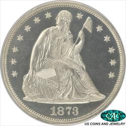 1873  Seated Liberty Dollar Proof PCGS and CAC PR65CAM Gem PROOF CAMEO  PQ+