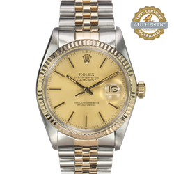 ROLEX 36mm DATEJUST 16013 TT SS and 18K YG Champagne Dial w Box and Paper