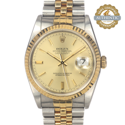 Rolex 36mm Ref/16233 TT SS & 18K YG Jubilee w Champagne Stick Index Watch and Papers