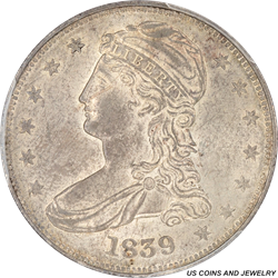 1839 Capped Bust Half Dollar Reeded Edge Lg Letters PCGS MS63