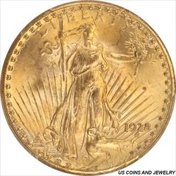 1928 St. Gaudens $20 Gold Double Eagle PCGS MS66 Brilliant Gold Luster