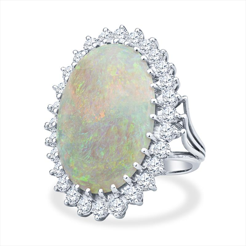 Ladies Lightening Ridge Opal and VS Diamond Halo Ring in 14k White Gold