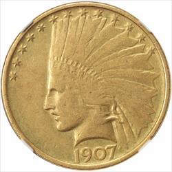 1907  Indian $10 Gold Eagle NGC VF 35 No Motto Variety