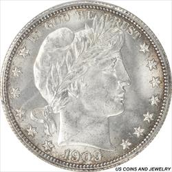 1909 Barber Half Dollar PCGS and CAC MS65 GEM Brilliant White