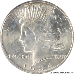 1934 P Silver Peace Dollar PCGS MS64