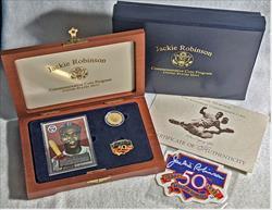 Jackie Robinson $5 Gold Commemorative  Set (Complete) - 0.900 Fine Gold - 0.2419 Troy oz AWG