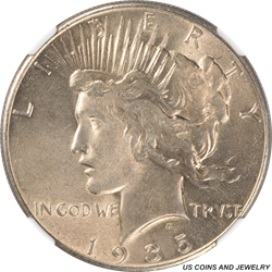 1935 Silver PEACE Dollar NGC MS62 Light Antique Gold Toning