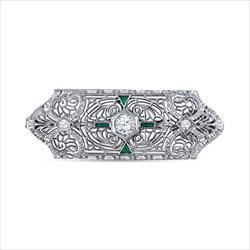 14k White Gold Diamond and Emerald Pin 81505