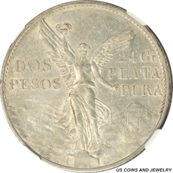 1921-Mo MEXICO Dos Pesos Silver NGC AU DETAILS Independence from Spain Centennial Commemorative