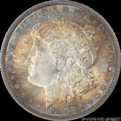 1883 MORGAN Silver Dollar PCGS MS64 Gorgeous Corona of iridescent color