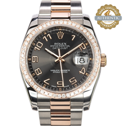 Rolex 36mm Datejust 116201 TT SS & 18K RG Arabic Concentric Circle Dial  and  RG Diamond Bezel Watch Only