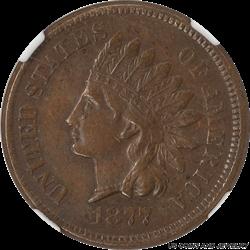 1877 Indian Head Cent NGC AU53