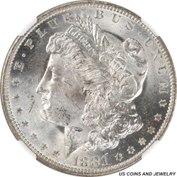 1881-O Morgan Silver Dollar NGC MS63 Nice white coin with cart wheel luster