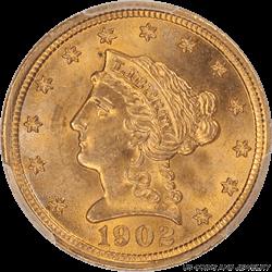 1902 Liberty $2.50 Gold Quarter Eagle PCGS MS65 GEM BU PQ+ Coin