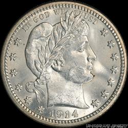 1914 Barber Quarter, Nice White, PCGS MS 66