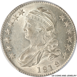 1819/8  Capped Bust Half Dollar Large 9 PCGS AU58 PQ+ Frosty White Rolling Luster