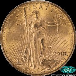 1910-D St. Gaudens $20 Gold Double Eagle PCGS CAC MS64