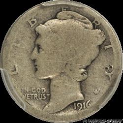 1916-D Mercury Dime PCGS AG03 - Key date, Nice Filler
