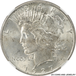 1927-D Silver Peace Dollar NGC MS62 Low Mintage Better Date
