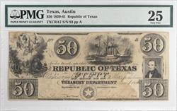 1839-41 $50 Republic of Texas Note PMG VF25 TXCRA7